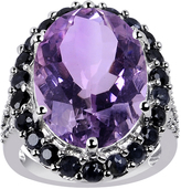Ice 12 4/5 CT TW Amethyst and Blue Sapphire Sterling Silver Ring with Spinel Accents