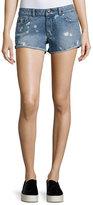 DL1961 Premium Denim Renee Bleached-Spots Cutoff Denim Shorts, Indigo