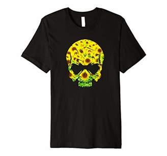 Floral Graphic Skull Flower Pattern Premium T-Shirt
