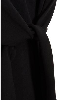 Quiz Scuba Crepe Tie Front Peplum Top - Black