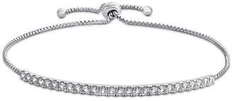FINE JEWELRY Lab Created White Sapphire Sterling Silver Bolo Bracelet