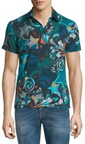Versace Allover Printed Short-Sleeve Polo Shirt, Multicolor