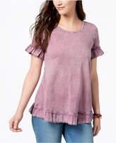 Style&Co. Style & Co Ruffled Crew-Neck T-Shirt Available in Regular & Petite Sizes, Created for Macy's