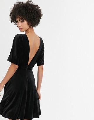 Monki velvet mini skater dress in black
