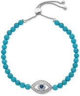Giani Bernini Cubic Zirconia and Dyed Howlite Semi-Precious (15-3/8 ct. t.w.) Evil-Eye Slider Bracelet in Sterling Silver, Only at Macy's