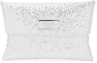 Galvan Logo-plaque Glitter-satin Clutch - Womens - Silver