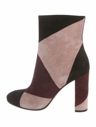Gianvito Rossi Patchwork Suede Ankle Boots Pink
