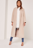 Missguided Nude Tall Shawl Collar Faux Wool Maxi Coat
