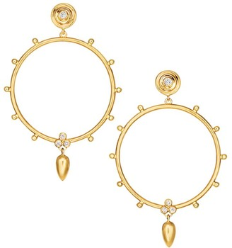 Temple St. Clair Anfora 18K Yellow Gold Diamond Hoop Earrings