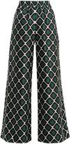 LA DOUBLEJ EDITIONS Palazzo geometric-print wide-leg silk trousers