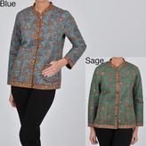 La Cera Women's Plus Size Quilted Mandarin Collar Jacket