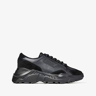 Versace Mixed Material Chunky Sole Sneaker (Black) Men's Shoes