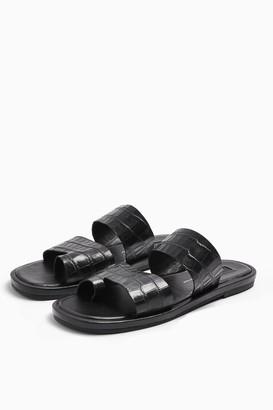 Topshop HOVE Black Leather Sandals