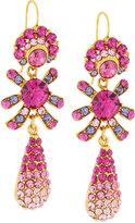 Jose & Maria Barrera Golden Pave Crystal Triple-Drop Earrings, Fuchsia