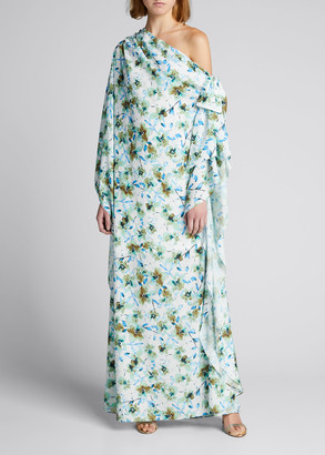 Badgley Mischka Reo Floral One-Shoulder Caftan Gown