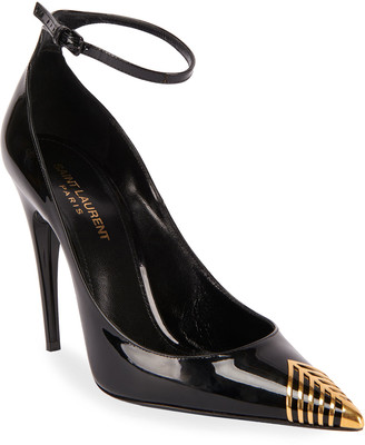 Saint Laurent Newton Patent Leather Cap-Toe Pumps