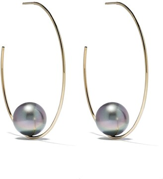 Mizuki 14kt gold Floating pearl earrings