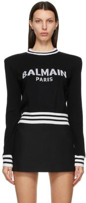 Balmain Black Wool Cropped Logo Sweater