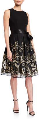 Chetta B Embroidered Sleeveless Party Dress