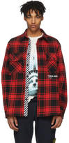 Off-White Red and Black Flannel Quote Shirt