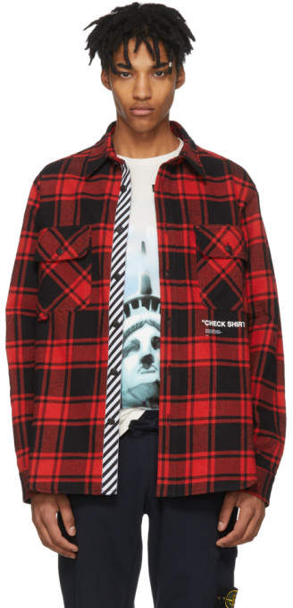 Off-White Off White Red and Black Flannel Quote Shirt