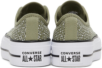 Converse Green Breathable Platform All Star Low Sneakers