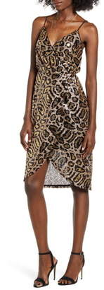 J.o.a. Leopard Sequin Slipdress