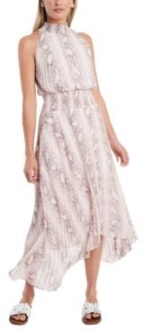 1 STATE Snakeskin-Print Smocked Dress