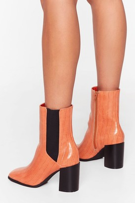 Nasty Gal Womens Ready to Croc Heeled Chelsea Boots - Orange - 3