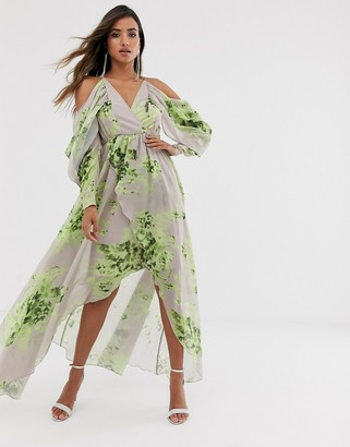 Asos DESIGN cold shoulder floral print maxi dress