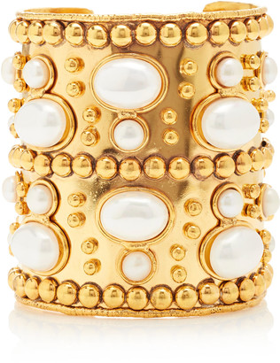 Sylvia Toledano Manchette And Wonder Byzance Gold-Plated And Pearl Wide Cuff