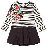 Catimini White and Black Stripe Jersey Dress with Floral Embroidery