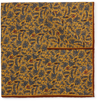 Aimé Leon Dore + Drake's Printed Wool And Silk-blend Pocket Square - Yellow