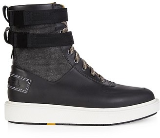 Diesel Cage Mix Media Leather Boots