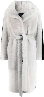 Common Leisure Side-Stripe Shearling Coat