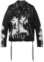 Amiri Embellished Hand-painted Vitellino Leather Biker Jacket - Black
