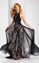 Clarisse - 3114 Sheer Lace Jumpsuit with Cape