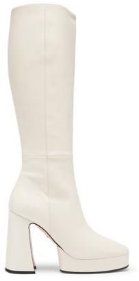 Gucci Madame Knee-high Leather Platform Boots - White