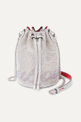 Christian Louboutin Marie Jane Crystal-embellished Suede And Leather Bucket Bag - Silver