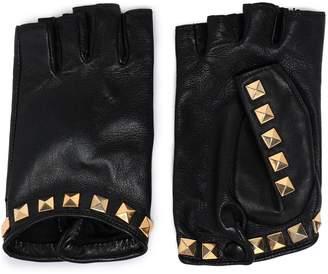 Agnelle Studded Leather Fingerless Gloves