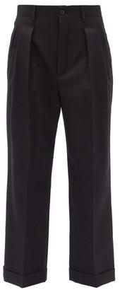 Saint Laurent Double-pleated Wool-gabardine Cropped Trousers - Black