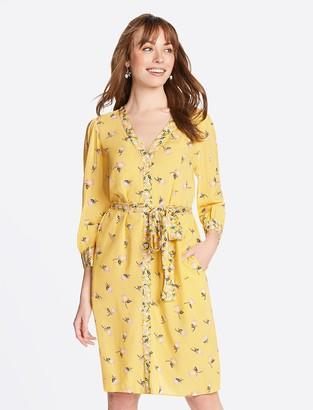 Draper James Floral Button Front V-Neck Dress
