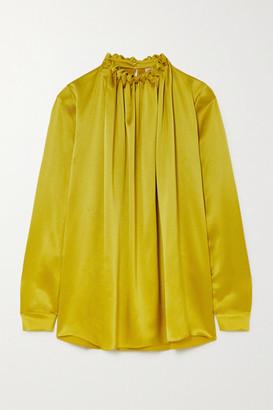 Roksanda Ymara Gathered Hammered Silk-satin Blouse - Bright green