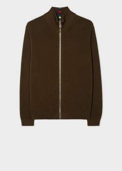 Men's Khaki Zip-Through Funnel-Neck Cotton Cardigan