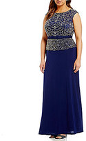 Cachet Plus Beaded Mock 2-Piece Gown