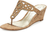 Adrianna Papell Ceci Studded Wedge Sandal, Gold Cork