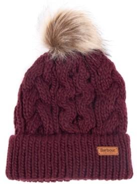 Barbour Penshaw Cable-Knit Faux-Fur Pom-Pom Hat