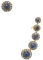 Artisan 18K Gold, Sapphire & 1.23 Total Ct. Diamond Ear Climber & Stud Set