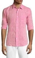 Toscano Solid Spread Collar Linen Sportshirt