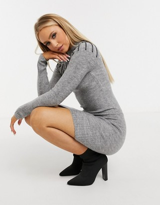 Lipsy embellished jumper dress in grey